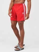 adidas 3 Stripe Swim Shorts - Red