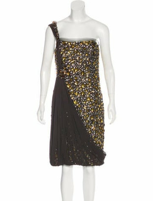 Naeem Khan Embellished Silk Dress Grey
