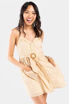francesca's Aubrey Gingham Button Down Dress - Yellow