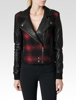 Paige Shelley Bomber Leather Mix - Red & Black Plaid