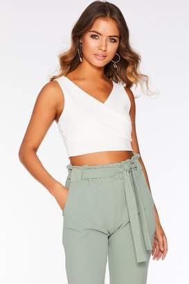 Quiz Cream Wrap Crop Top