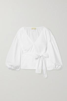 MICHAEL Michael Kors Cotton-poplin Wrap Top - White