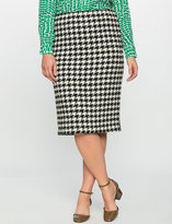 ELOQUII Plus Size Textured Houndstooth Pencil Skirt