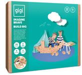 Gigi Bloks Jeu de construction en carton Véhicule avec crayons de couleur - Set de 30 blocs Natural