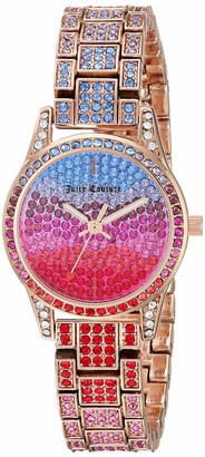 Juicy Couture Black Label Women's Multicolored Swarovski Crystal Accented Rose Gold-Tone Bracelet Watch