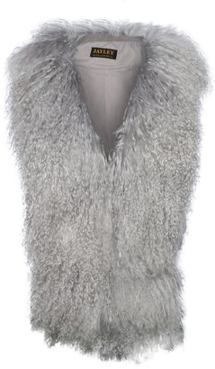 Jayley Mongolian Fur Grey Suede Gilet