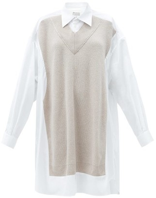 Maison Margiela Knitted-overlay Cotton-poplin Shirt Dress - White
