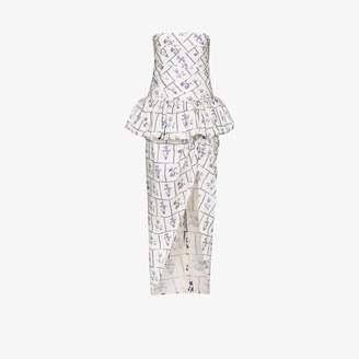 KHAITE Womens Blue Gwen Floral Print Strapless Cotton Midi Dress