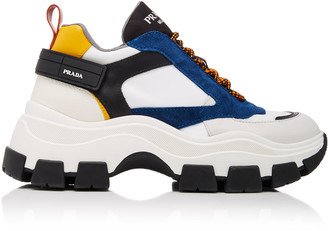 Prada Color-Block Leather and Nylon Sneakers