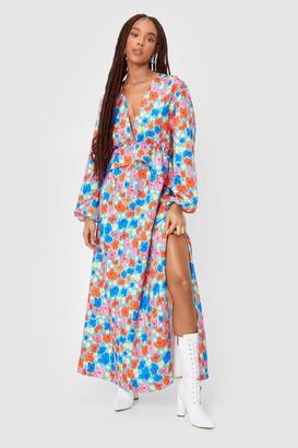 Nasty Gal Womens Bud System Floral Maxi Dress - Blue - 4