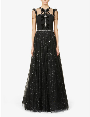 Jenny Packham Sherrie bow-trimmed embellished tulle gown