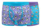 Red Herring Pack Of Two Purple Dog Print Keyhole Trunks