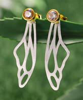Lotus Fun Women's Earrings SILVER - Zircon & Sterling Silver Wings Drop Earrings