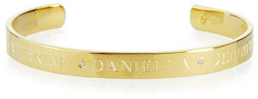 Sarah Chloe 6mm Ciela Trio Name Cuff Bracelet with Diamonds