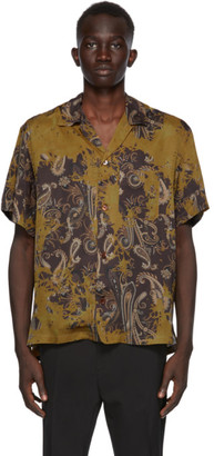 Cmmn Swdn Khaki and Black Paisley Short Sleeve Shirt