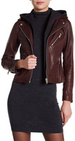 Doma Smooth Texture Hooded Crop Leather Jacket