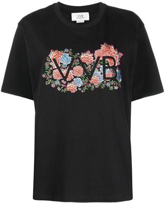 Victoria Victoria Beckham floral embroidered logo T-shirt