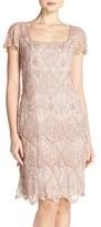 Pisarro Nights Petite Women's Beaded Mesh Sheath Dress