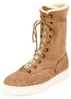 Bottega Veneta Intrecciato-Trim Shearling Fur Mid-Calf Boot, Camel