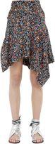 Isabel Marant Asymmetric Floral Print Silk Midi Skirt