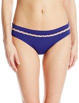 Shoshanna Women's Cosmic Blue Solid Braid Banded Bikini Bottom