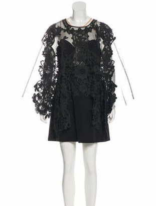 Thurley Embroidered Mini Dress w/ Tags Black
