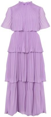 True Decadence Lilac Tiered Pleated Maxi Dress