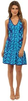 Nicole Miller Graphic Floral Double Knit Fit and Flare Dress