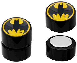 DC Comics Women's DC Comics Batman Logo Acrylic and Stainless Steel Magnetic Earrings - Black