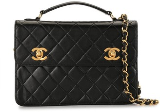 Chanel Pre Owned 1990 diamond quilted CC two-way bag