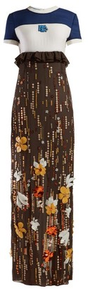 Prada Sequinned Silk-chiffon Gown - Womens - Brown Multi