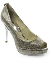 KORS York Pump Women Peep-toe Canvas Silver Heels.