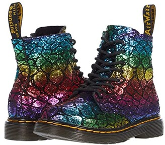 Dr. Martens Kid's Collection 1460 Pascal (Toddler) (Black/Rainbow Croc Metallic Suede) Kid's Shoes