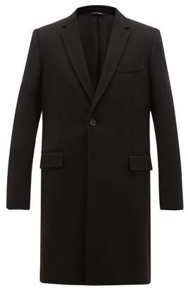 Dolce & Gabbana Single Breasted Wool Blend Twill Overcoat - Mens - Black