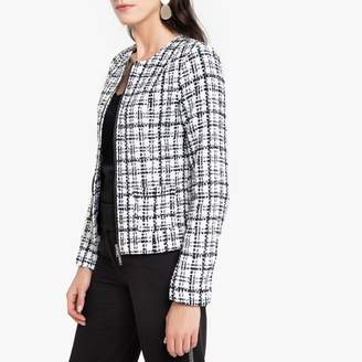 Anne Weyburn Fitted Woven Zipped Jacket in Checked Jacquard