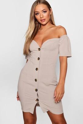 boohoo Sweetheart Mock Horn Button Front Mini Dress