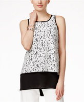 Alfani Lace Chiffon-Hem Top, Only at Macy's