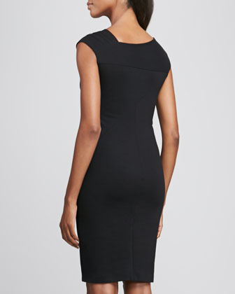 DKNY Cap-Sleeve Dress with Asymmetric Pleats