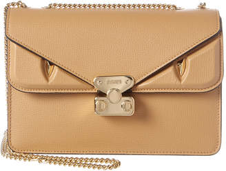 Fendi Bug Fold-Over Leather Chain Shoulder Bag
