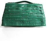 Romy Gold Green Leather Cutout Fold Over Flap Small Clutch Handbag
