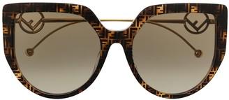 Fendi Eyewear Tortoiseshell Cat-Eye Sunglasses