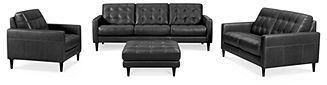 Carla Leather Living Room Furniture, 4 Piece Sofa Set (Sofa, Loveseat, Chair & Ottoman)