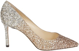 Jimmy Choo Pink And Silver-tone Leather Romy 85 Pumps