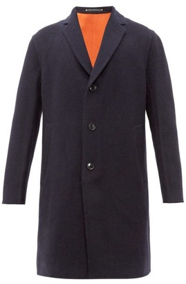 Paul Smith Single-breasted Wool-blend Overcoat - Mens - Navy