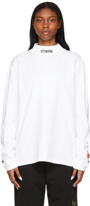 Heron Preston White Style Mock Neck Long Sleeve T-Shirt