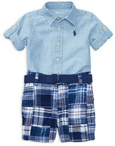 Ralph Lauren Boys' Chambray Shirt, Patchwork Shorts & Belt Set - Baby