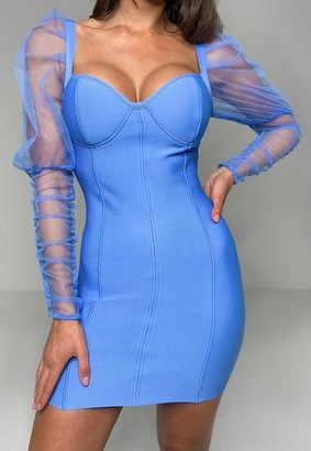 Missguided Blue Organza Sleeve Bandage Mini Dress