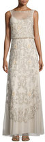 Aidan Mattox Sleeveless Beaded Blouson A-line Dress
