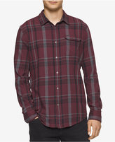 Calvin Klein Jeans Men's Bordeaux Brush Plaid Shirt