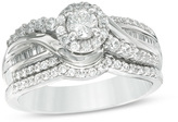 Zales 3/4 CT. T.W. Diamond Crossover Frame Bridal Set in 14K White Gold